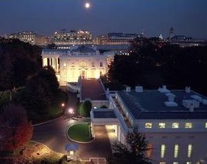 West Wing - The West Wing (lower right) by night, December 2006.