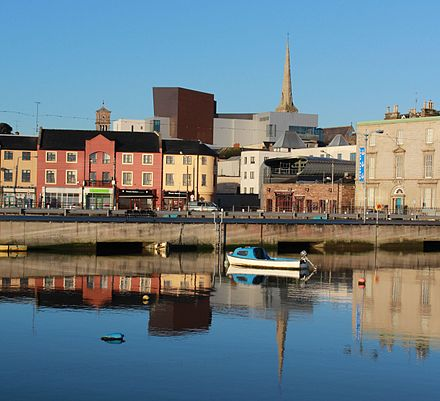 Wexford Opera House, now the National Opera House, amongst other buildings Wexford Opera House rises above the old skyline.jpg