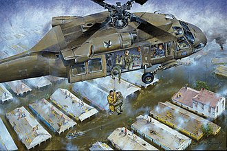 Lower Ninth Ward - Painting depicting a National Guard helicopter rescuing people in the flooded Lower Ninth Ward