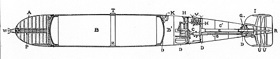 Whitehead torpedo's general profile: A. war-head B. air-flask. B'. immersion chamber C'. after-body C. engine room D. drain holes E. shaft tube F. steering-engine G. bevel gear box H. depth index I. tail K. charging and stop-valves L. locking-gear M. engine bed-plate P. primer case R. rudder S. steering-rod tube T. guide stud U. propellers V. valve-group W. war nose Z. strengthening band Whitehead torpedo General Profile, The Whitehead Torpedo U.S.N.1898.jpg