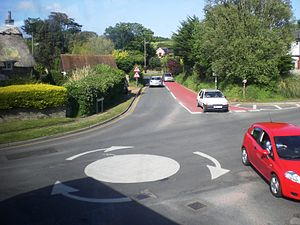 The crossroads styled as a roundabout at White...