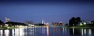 Downtown Wichita, Kansas, skyline at night fro...