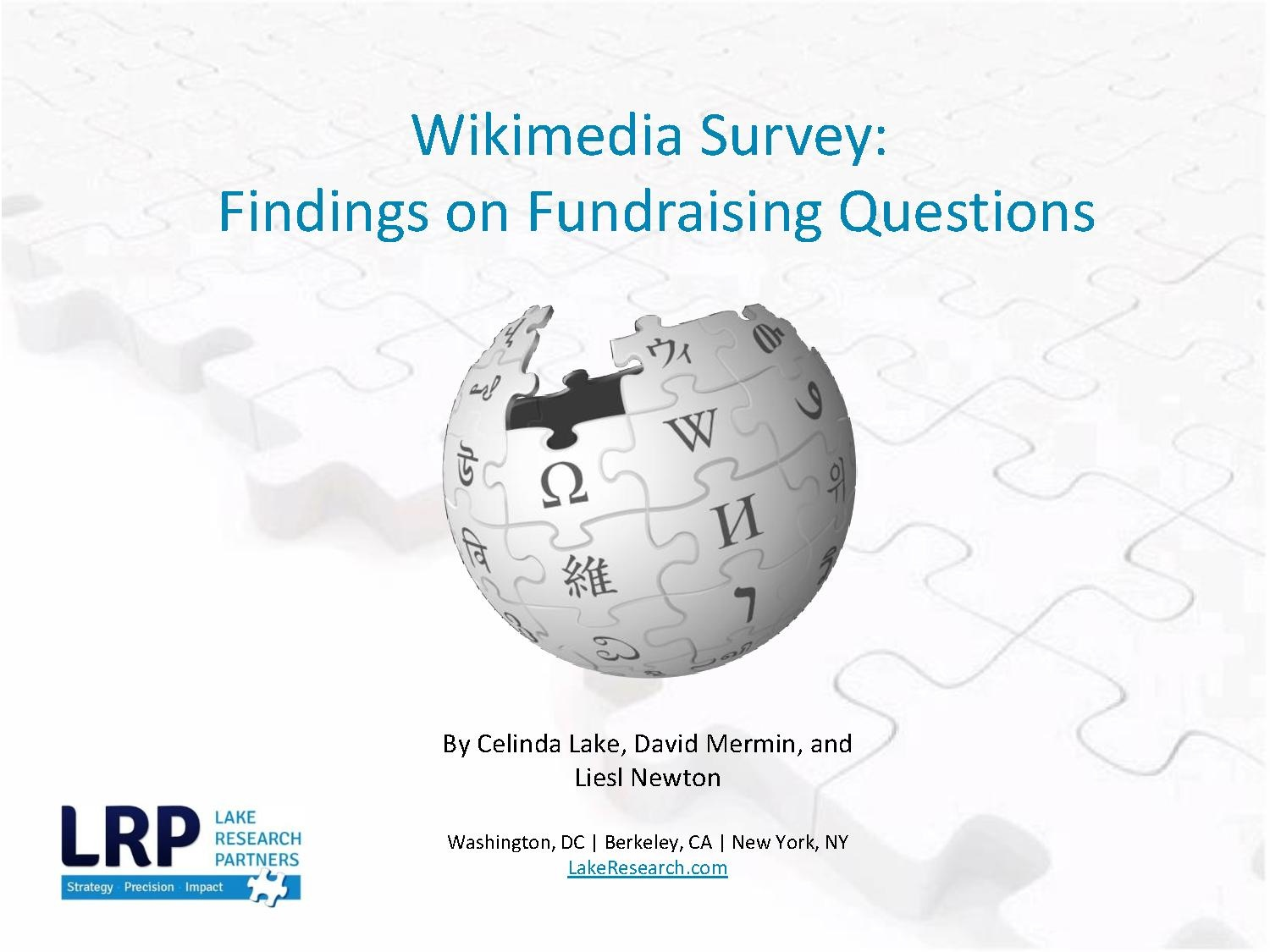 Wikimedia 2014 English Fundraiser Survey
