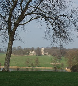 Wimpole Estate - Image: Wimpole hall grounds lake and folly