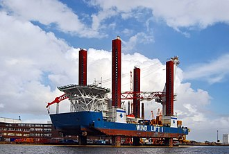 Crane vessel - Wind Lift I at the harbor in Emden, Germany