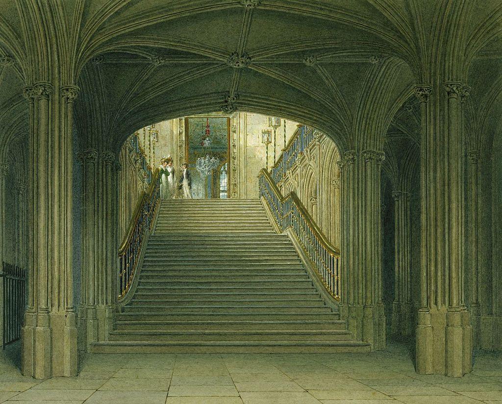 Виндзорский замок, Лестница, Чарльз Уайлд, 1818 - royal coll 922097 257017 ORI 0.jpg