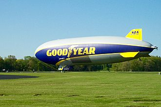 Goodyear Blimp - Wingfoot Two (N2A), a model LZ N07-101 semi-rigid airship, takes off to provide aerial coverage of the 2016 NBA Playoffs.