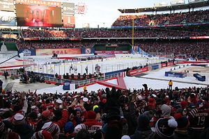 2015 NHL Winter Classic - Troy Brouwer just scored the game-winning goal at the 2015 NHL Winter Classic. Capitals players and fans celebrate.