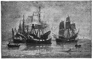 Winthrop Fleet -  Arrival of the Winthrop Colony, by William F. Halsall
