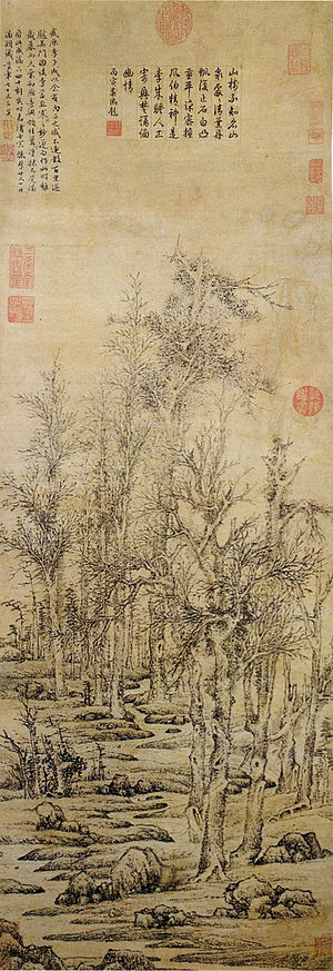 1542 in art - Wen Zhengming, Wintry trees after Li Cheng, 1542