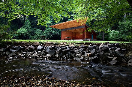 The Meadow Pavilion is one of the theaters at Wolf Trap National Park for the Performing Arts. Wolf Trap (national park) meadow pavilion.jpg