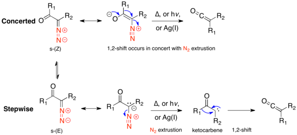 Concerted versus stepwise mechanism for ground state conformers.