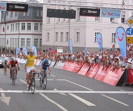 Nicole Cooke secured the overall title in 2006 by winning the final stage in Zeulenroda-Triebes Womens-Bicycle-Race-Thuringia-2006.jpg