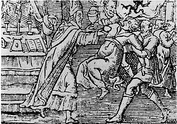 A woodcut from 1598 shows an exorcism performe...