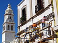 Workers Restoring Cathedral Facade - Campeche - Yucatan Peninsula - Mexico (15703486621).jpg