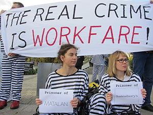 "Workfare - Demonstration against ""workfare"", October 2011."