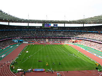 2024 Summer Olympics - Stade de France with uncovered athletics track during the 2003 World Championships