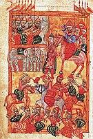 Yeghishe, Vasn Vardanay ew Hayoc paterazmin, 1569 (Matenadaran, Ms. 1920, no. 250v.).jpg