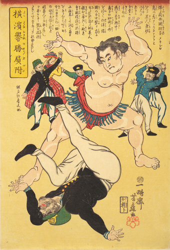 Foreigner and sumo wrestler, 1861