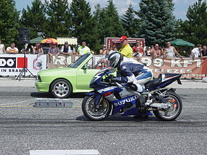 Suzuki GSX R1000 At A Drag Strip. This Bike Once Recorded A 0 To 60 Mph  Time Of 2.35 Seconds.