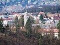 Zbraslav, husitský kostel, z Hradiště.jpg
