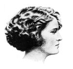 A profile drawing a woman with short wavy hair