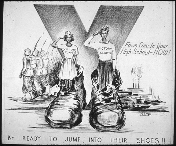 """Be Ready to Jump into Their Shoes"" Office for Emergency Management. Office of War Information. Domestic Operations Branch. News Bureau. Via Wikimedia Commons."