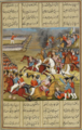 'Abbās Mīrzā in battle cleaves the Russian general Karawich. A Qajar-era miniature.png