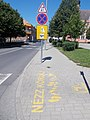 'Look around', two-way traffic, no stopping and accident warning signs, Ady Street, 2020 Zalaegerszeg.jpg