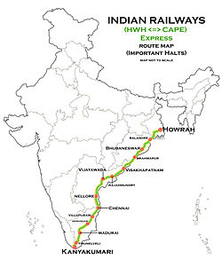 (Howrah - Kanyakumari) Express route map.jpg