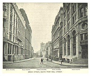 Mills Building (New York City) - Broad Street in 1893. Mills Bldg is second on left