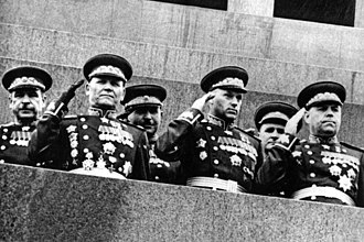 Ivan Konev - Ivan Konev (front row, 1st from left) at the Victory Parade, June 24, 1945