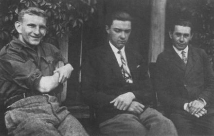 Shukhevych (left) in the Second Republic in 1930 Roman Shukhevich na Volini.jpg