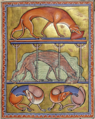 Собаки. Тройная миниатюра из Абердинского бестиария.png