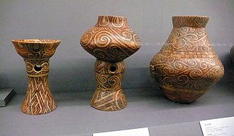 Spiral - Bowl on stand, Vessel on stand, and Amphora. Eneolithic, the Cucuteni Culture, 4300-4000 BCE. Found in Scânteia, Iași, Romania. Collected by the Moldavia National Museum Complex