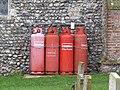 -2020-12-13 Four 47kg LPG gas bottles, Saint Andrew's, Bacton.JPG