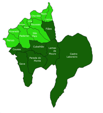 Melgaço, Portugal - The distribution of the civil parishes of Melgaço (the mountainous parts in dark)
