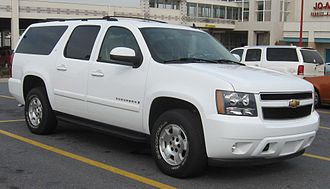 A Chevrolet Suburban extended-length SUV weighs 3,300 kg (7,200 lb) (gross weight) 07-08 Chevrolet Suburban LT.jpg