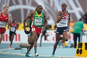 10,000 metres at the World Championships in Athletics - Ibrahim Jeilan and Mo Farah in the 2013 men's final