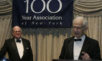 The Hundred Year Association of New York - Manhattan District Attorney Robert M. Morgenthau speaks after receiving The Hundred Year Association's 2005 Gold Medal as Chairman Richard A. Cook looks on.