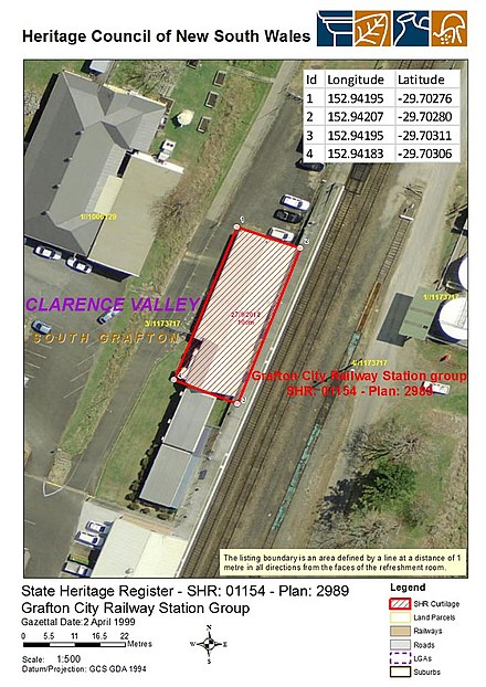 Heritage boundaries 1154 - Grafton City Railway Station group - SHR Plan No 2989 (5012024b100).jpg