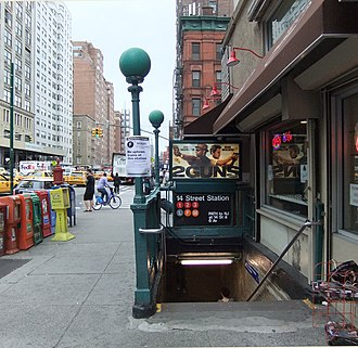 14th Street/Sixth Avenue (New York City Subway) - Entrance looking west at 7th Avenue and 14th Street NW street stair
