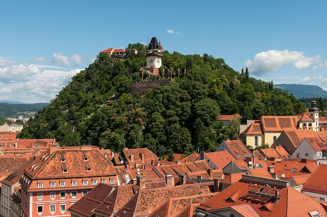 The Schlossberg (Castle Hill) with the clock tower (Uhrturm), as seen from town hall