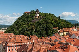 The Schlossberg (Castle Hill) with the Uhrturm (Clock Tower), the iconic landmark of Graz, from the Townhall