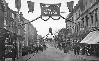 Sutton High Street - The High Street in Christmas 1910: south end (above); north end (below)