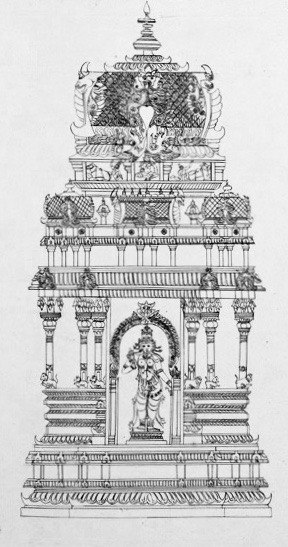 1801 sketch of goddess Meenakshi and her shrine in the Madurai temple