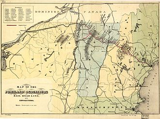 Portland and Ogdensburg Railway - 1870s map