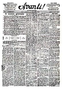 Prima pagina del N.1 dell'Avanti! (25 dicembre 1896)