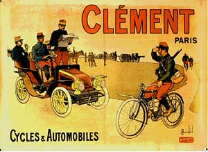 Adolphe Clément-Bayard - 1903 poster Advertising Clement Cycles and Automobiles. (Musee Automobile de Reims)