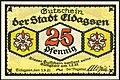 1921-06-01 Gutschein der Stadt Eldagsen, 0,25 Mark 25 Pfennig, gültig bis 1. Februar 1922, a, faksimilierte Unterschrift der Magistrat.jpg